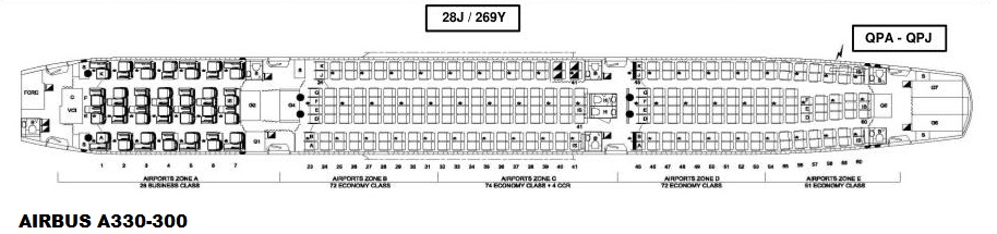 Seat maps for reconfigured QANTAS A330s - Airline Hub Buzz | Airline Qantas Seat Maps on